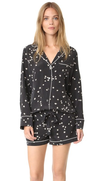 Equipment Woman Lillian Washed-silk Pajama Set Black
