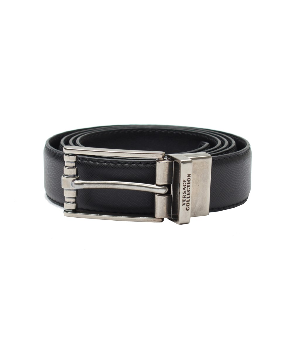 Versace Collection Men's Adjustable Stainless Steel Buckle Saffiano Leather Reversible Belt Blac In Black