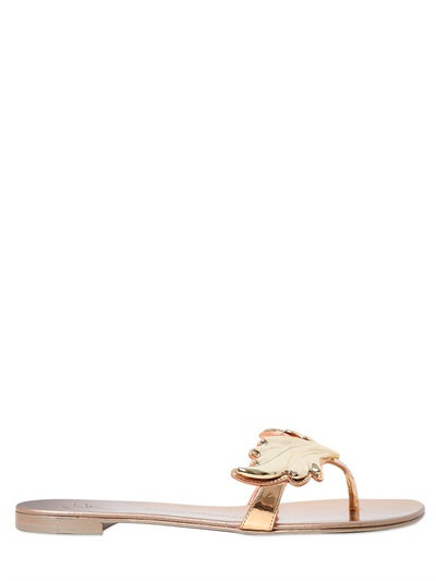 479b46315c4fa Giuseppe Zanotti Nuvorock Mirror Leather Leaf Sandals, Rose Gold ...