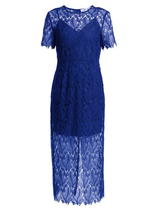 ce0f53f7942 Diane Von Furstenberg Leaf And Floral MacramÉ-Lace Pencil Dress In Royal  Blue