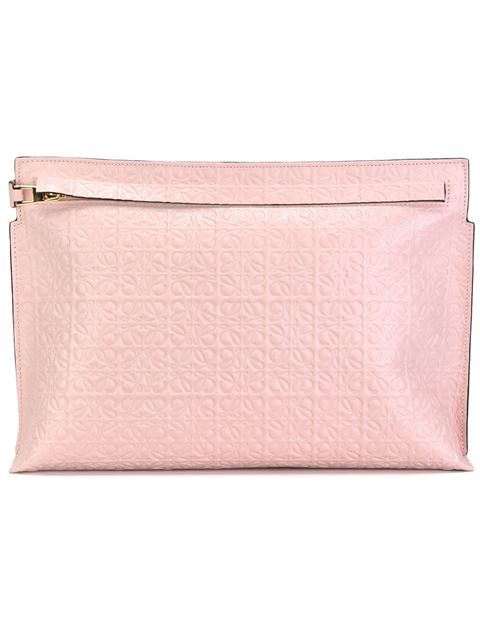 Loewe T Embossed Leather Clutch In Pink