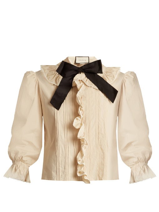 42399611f2fb4e Gucci Ruffle-Trimmed Bow-Neck Stretch-Cotton Blouse In Ivory | ModeSens
