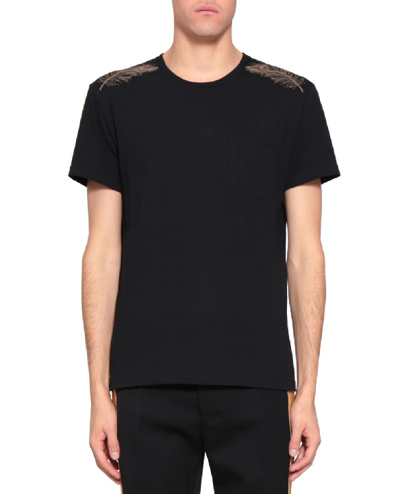 Alexander Mcqueen Cotton Gold Feather T-shirt In Nero