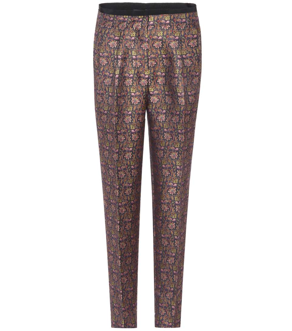 Etro Jacquard Cropped Trousers In Multicoloured