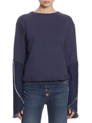 Each X Other Bell-Sleeve Cotton Sweatshirt In Navy