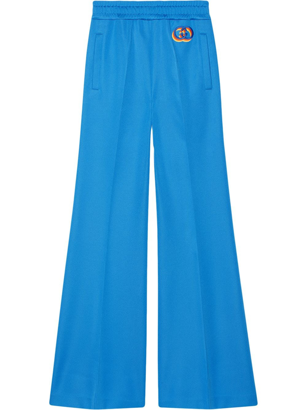 Gucci Logo-embroidered Flared Track Pants In Blue