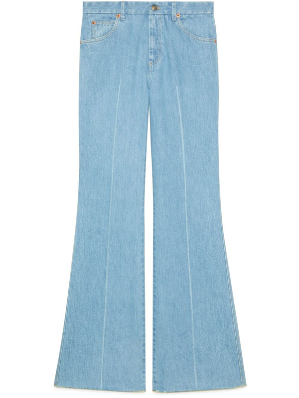 Gucci Eco Washed Dyed Denim Wide Leg Pants In Light Blue