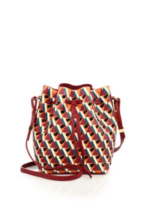 Sophie Hulme Nelson Small Embellished Geometric-print Leather Bucket Bag In Watermelon/ Berry
