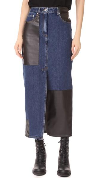6f8e1de9d Mcq By Alexander Mcqueen Faux Leather-Paneled Denim Midi Skirt In Indigo