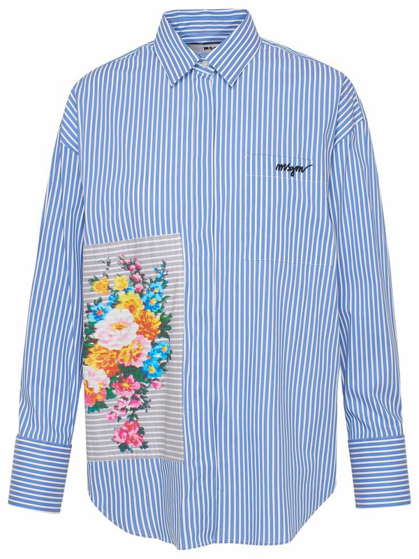 Msgm Blue And Sneakers Shirt In Light Blue