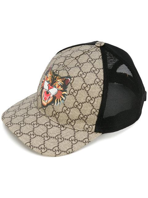 853ec7dd Gucci Angry Cat Printed Coated-Canvas And Mesh Baseball Cap In Tonal-Beige