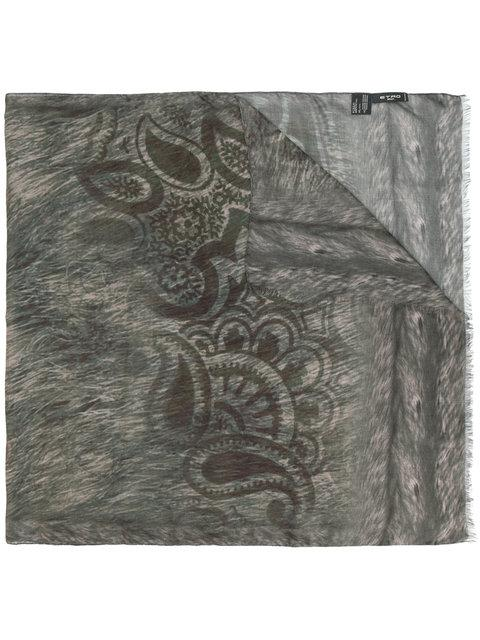 Etro Animal Print Scarf - Grey