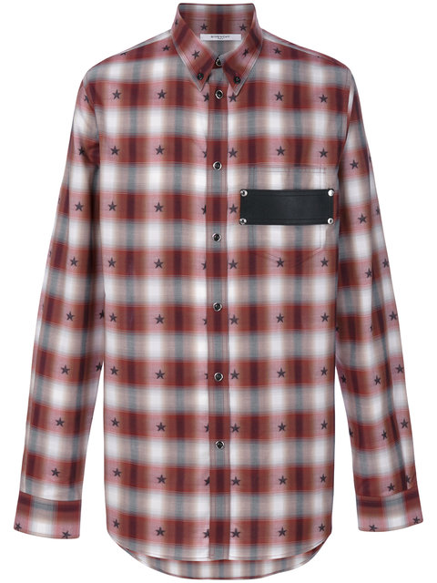 f5a8fe5299c4 Givenchy Checked Star Print Shirt In Red