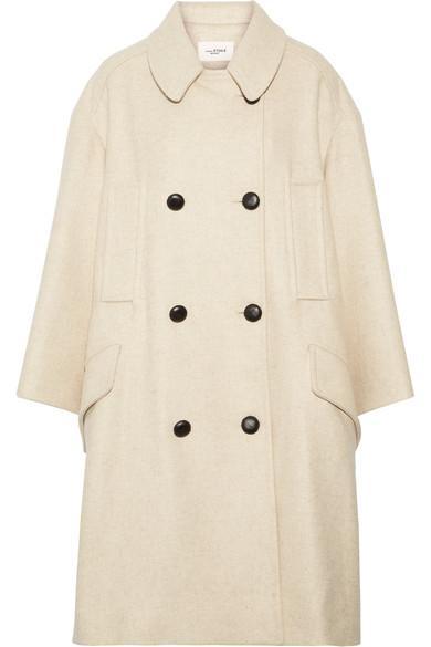 d040ea8f96a4 Etoile Isabel Marant Woman Flicka Double-Breasted Wool-Blend Felt Coat  Beige In Ecru