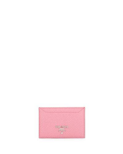 Prada Saffiano Metal Oro Card Case, Pink (begonia)