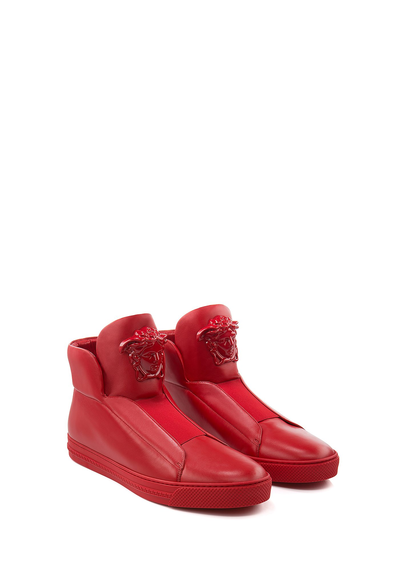 Versace Idol Tonal Pallazo Leather High-top Sneakers In D6g