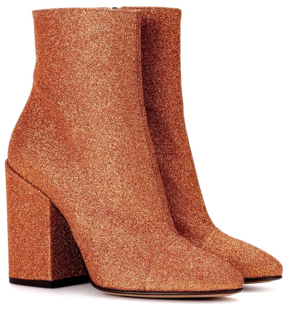 5aa4afe383d7f9 Dries Van Noten Glitter Ankle Boots In Orange
