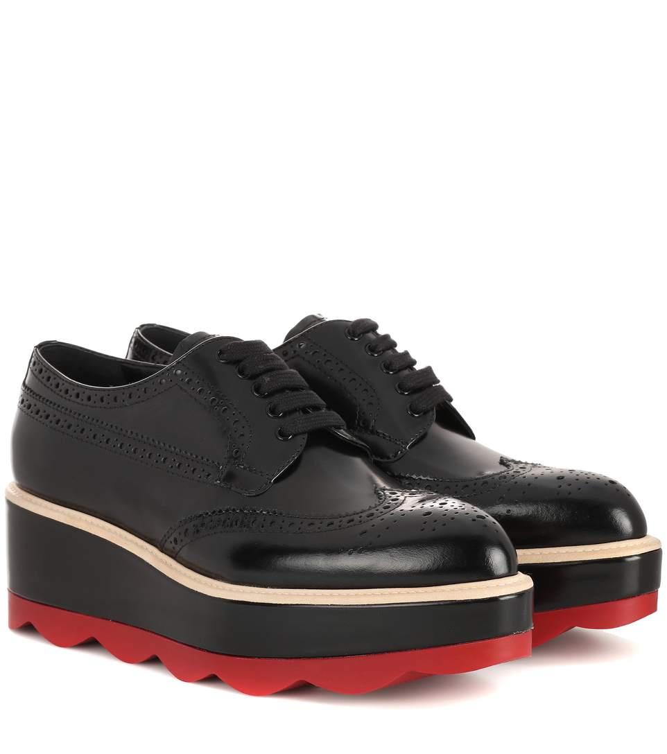 87771b97335b Prada Leather Platform Brogues In Black. PRADA