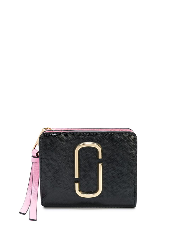 Marc Jacobs Compact Wallet In Bicolor Leather With Logo In Black