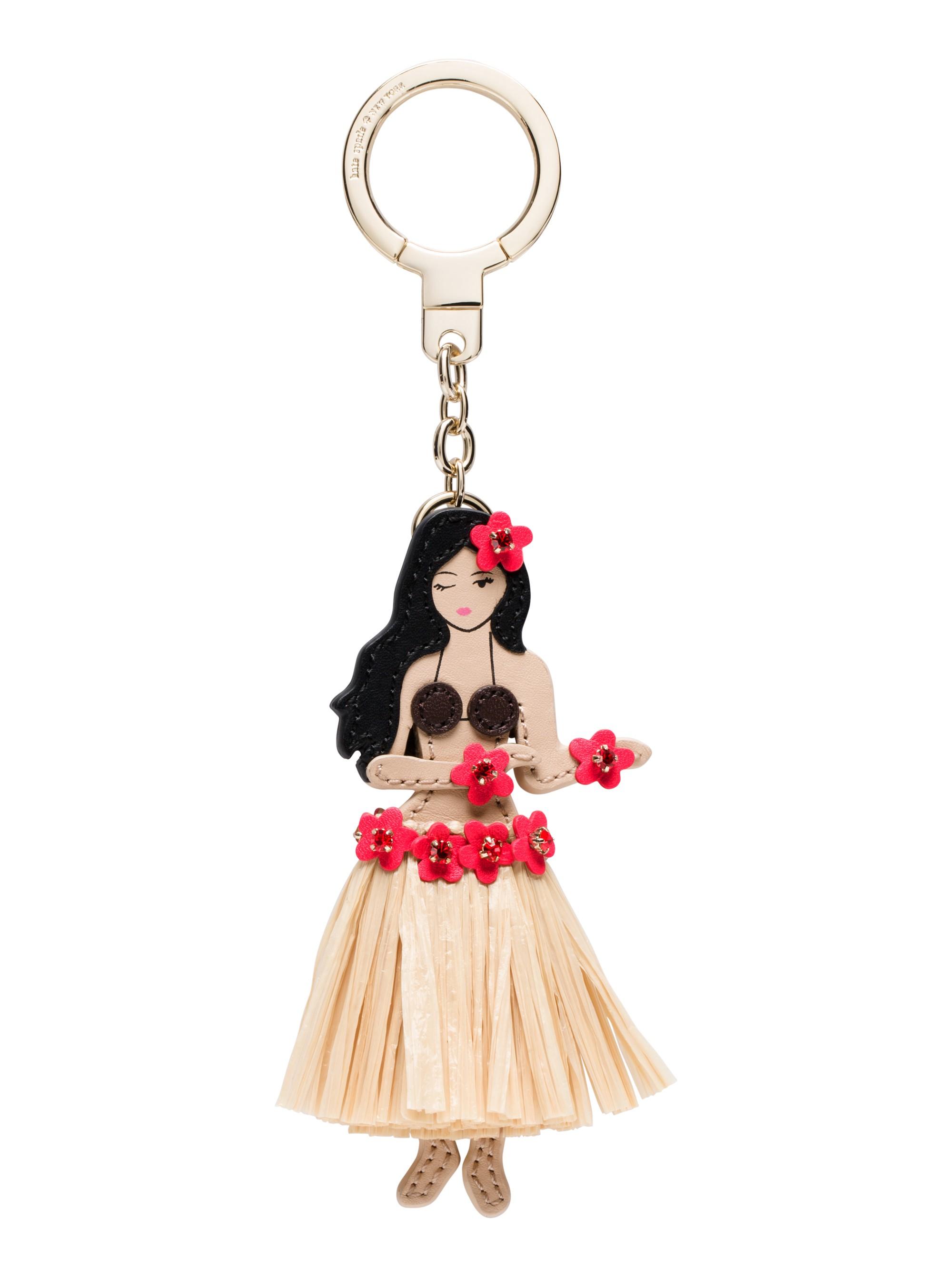 Kate Spade Leather Hula Girl Keychain In Multi