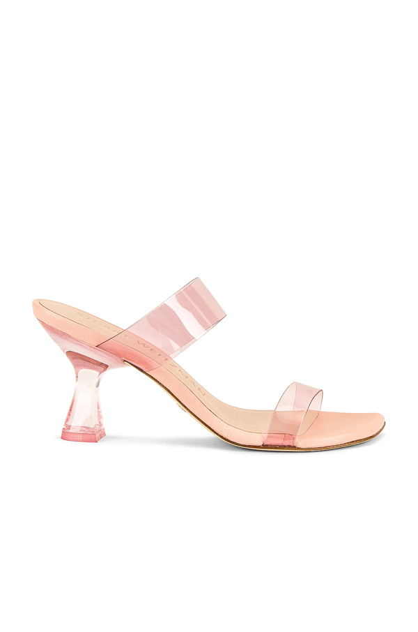 Stuart Weitzman Kristal Clear Mule In Light Pink & Poudre