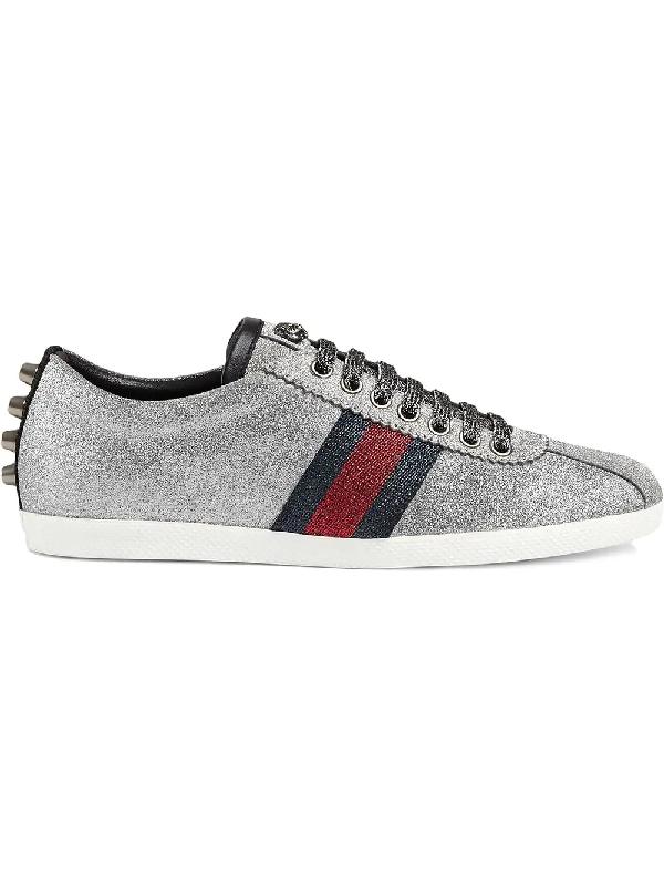 b3f3a43f6e76 Gucci Glitter Web Sneaker With Studs In 8162 Silver