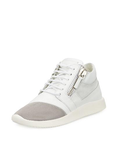 Giuseppe Zanotti Side-zip Lace-up Mid-top Sneaker, White In Black