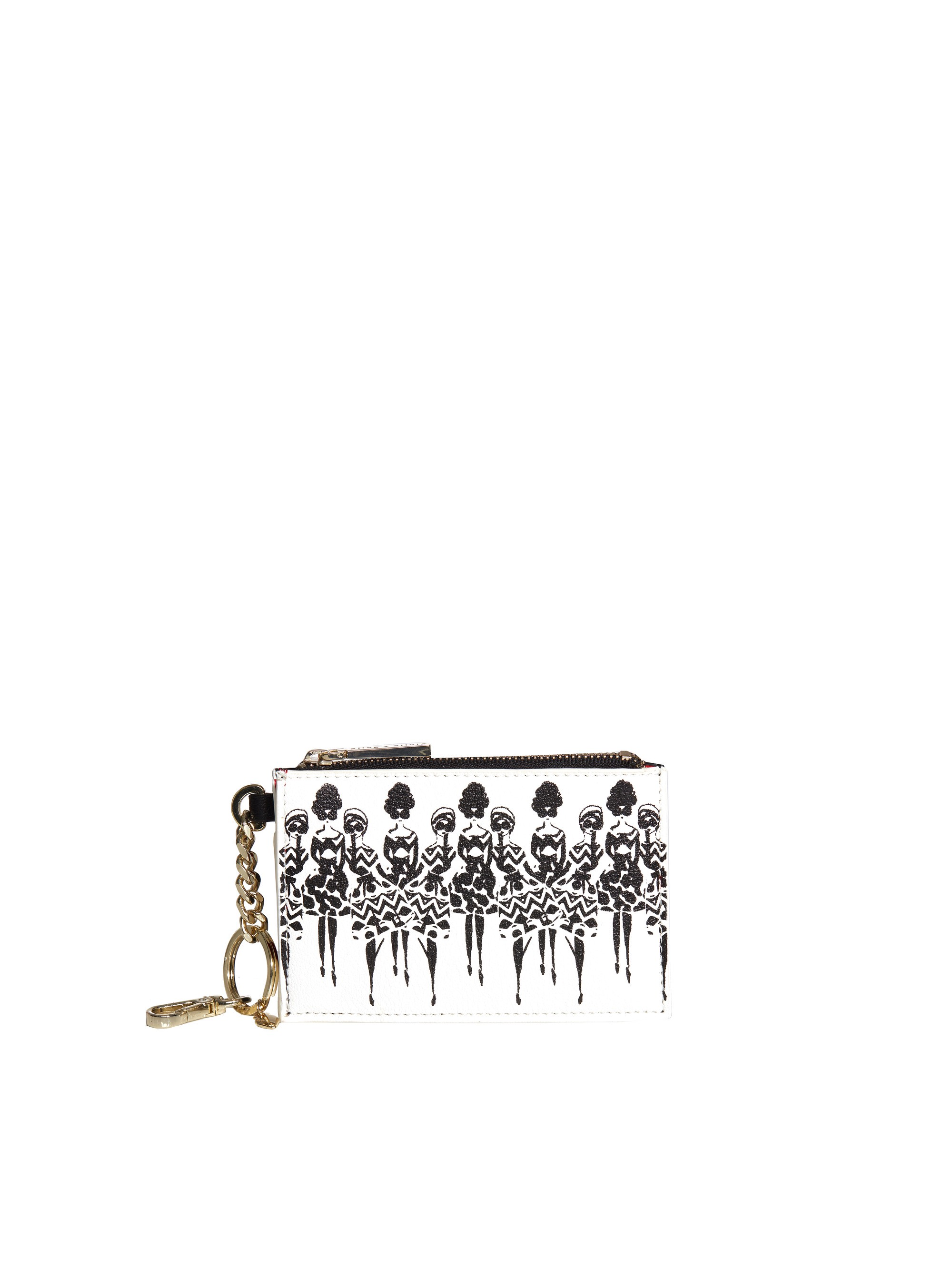 Alice And Olivia Evy Zip Coin Purse In White-black