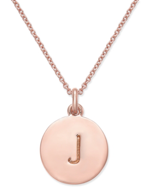"""Kate Spade Rose Gold-tone Initial Disc Pendant Necklace, 18"""" + 2 1/2"""" Extender In Rose Gold J"""