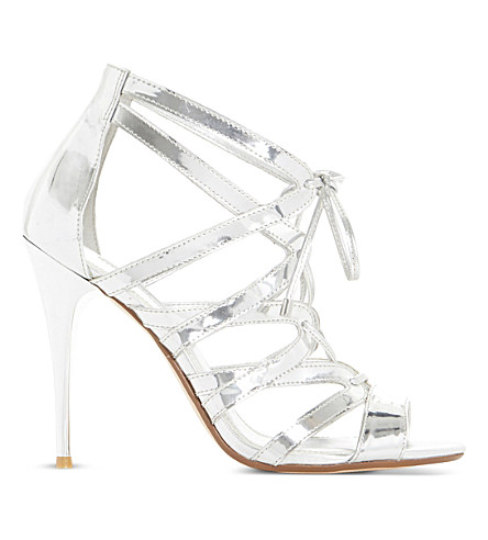 Dune Mila Ghillie Lace Up Sandal In Silver-synthetic