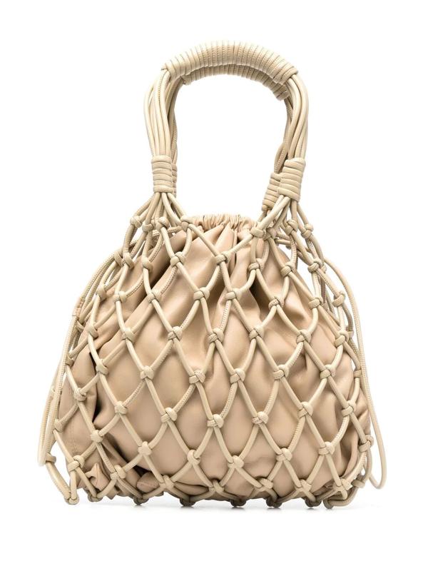 Nanushka Naiya Net Faux-leather Top-handle Bag In Neutrals