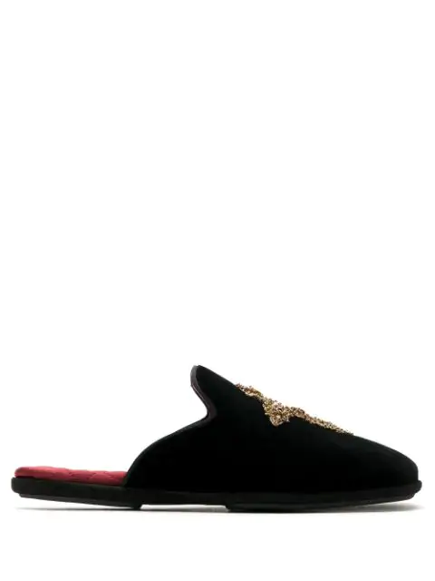 Dolce & Gabbana Embroidered Cross Slippers In Black