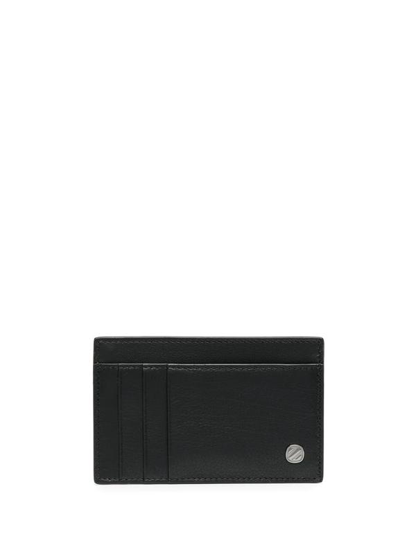 Ermenegildo Zegna Logo Plaque Leather Cardholder In Black