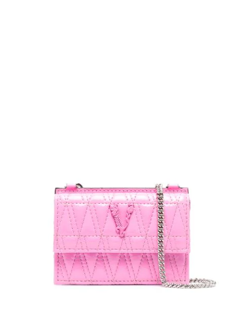 Versace Virtus Quilted Wallet In Pink