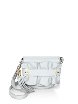Milly Ruffle Leather Crossbody Saddle Bag In Grey