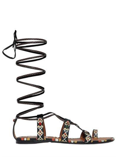 Valentino Hand-painted Leather Gladiator Sandal, Black/ivory In Black/multi