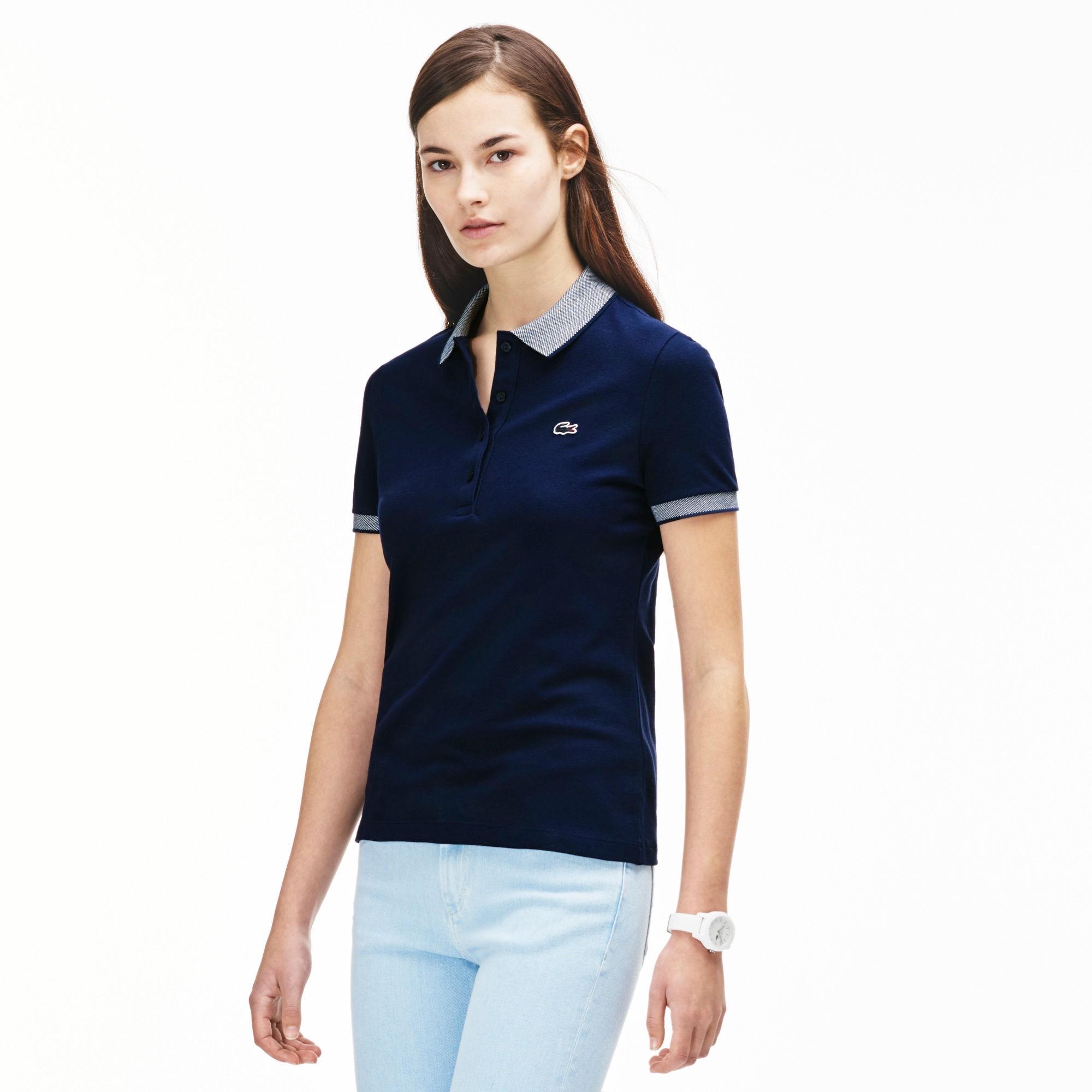 Women's Caviar Piqué Polo Shirt - Navy Blue/white