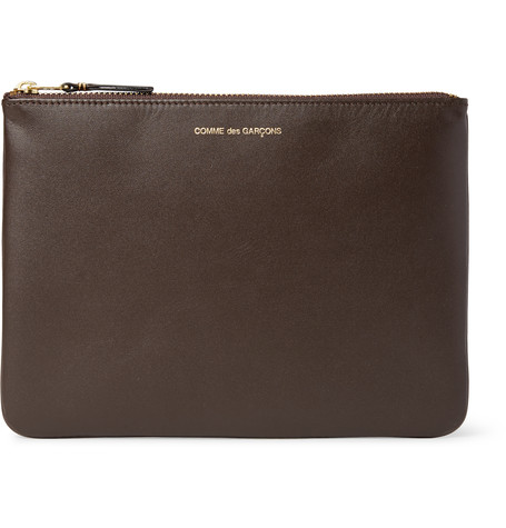 Comme Des GarÇons Leather Pouch In Brown