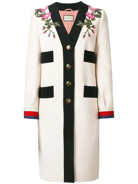 8908c468d Gucci AppliquÉD Grosgrain-Trimmed Wool Coat In Ecru | ModeSens