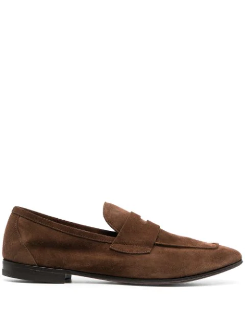 Henderson Baracco Suede Penny Loafers In Brown