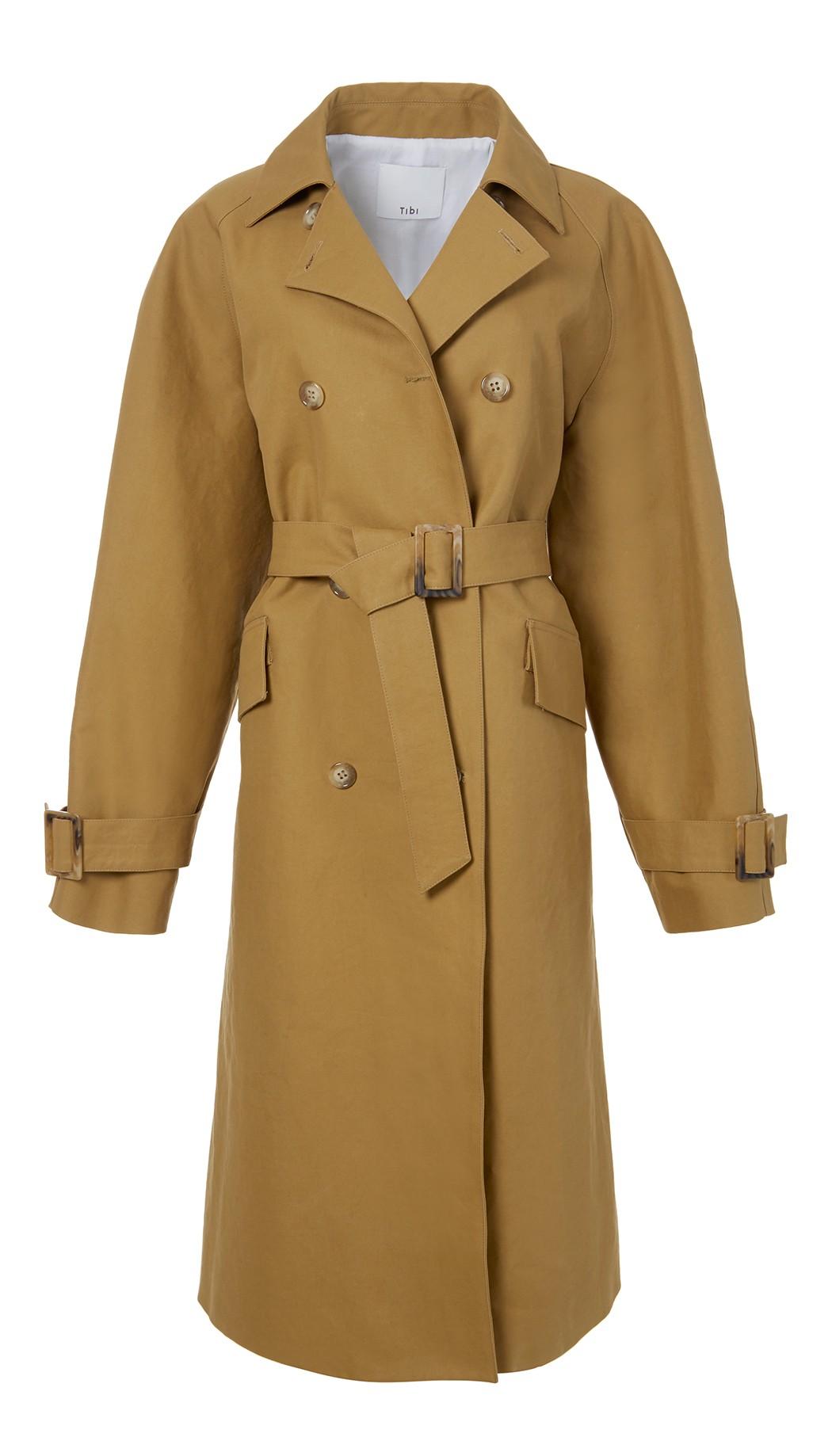 81f9fdf359e Tibi Oversized Cotton-Canvas Trench Coat In Caramel