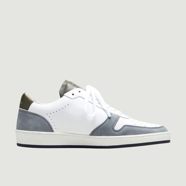 Zespà Zsp23 Leather Sneakers Mix Kaki Bleu Gris Zespa In White
