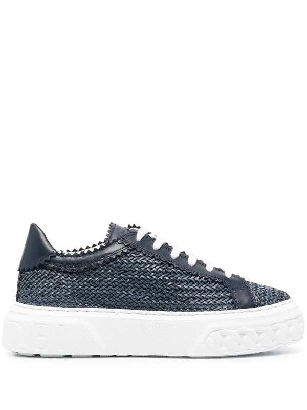 Casadei Woven Panel Sneakers In Blue
