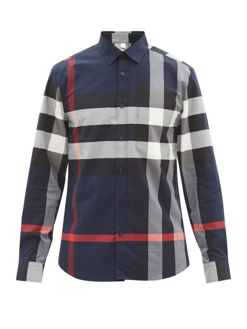 Burberry Somerton Maxi-check Cotton-blend Twill Shirt In Blue,white,red