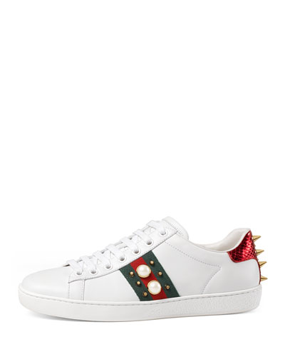 1ceeec39740 Gucci White Pearls And Studs Ace Sneakers In 9064 White | ModeSens