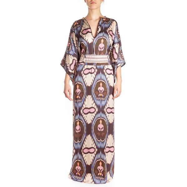 Bazar Deluxe Patterned Belted Long Dress In Multicolor