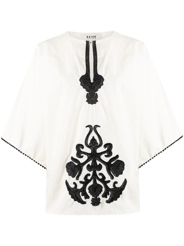 Bazar Deluxe Embroidered Kimono-style Top In Neutrals