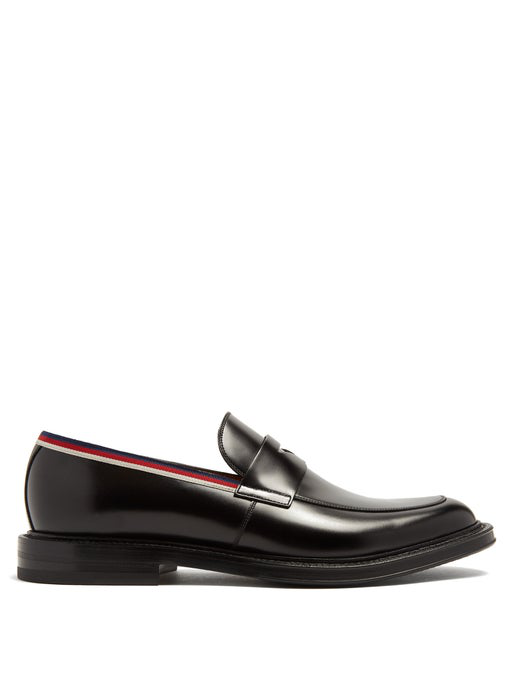 Gucci Beyond Web-Striped Embellished Leather Loafers In Black
