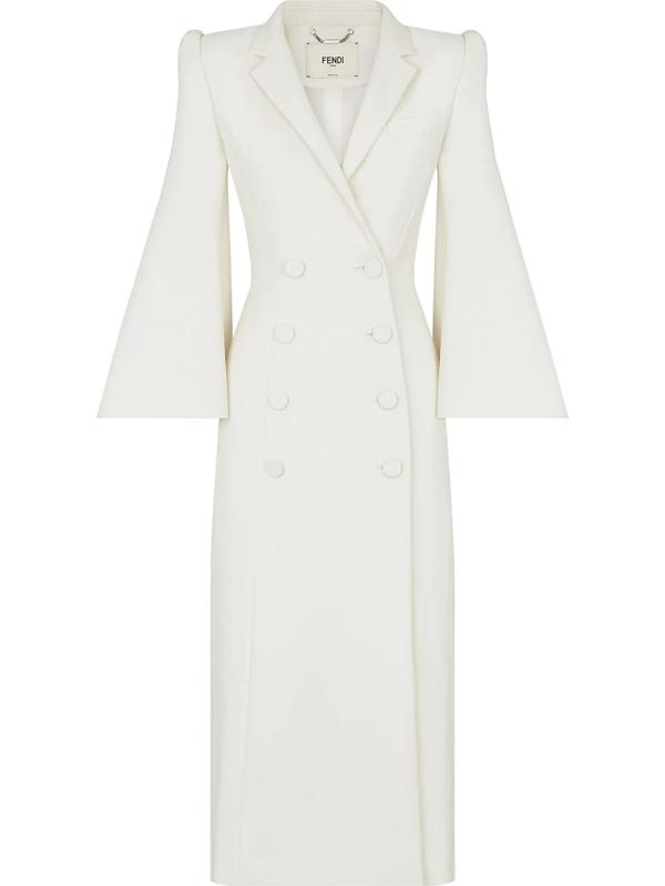 Fendi Bell-sleeve Double-breasted Wool-blend Coat In White