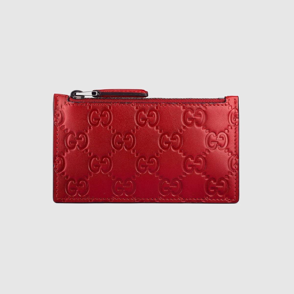 pretty nice edf6a 8b7b3 Gucci Signature Leather Card Case - Red Gucci Signature